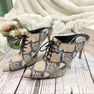 Vince camuto snake print maivyn lace up mule NEW
